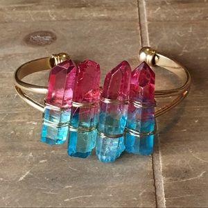 Boho Hybrid Pink and Blue Aura Quartz Bracelet
